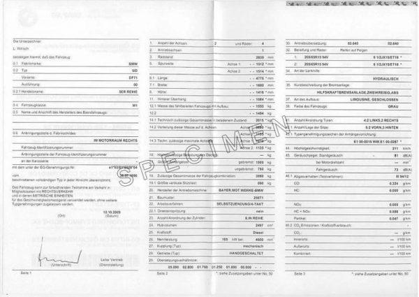 bmw COC dokumentum